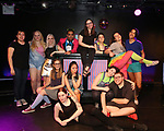 Top Row: Caroline Duffin, Merrill Peterson, Claire Autran, Azalea Lewis, Chris Costa, Daniella Caggiano, Dani Martineck, Leah Lane, Vinny Eden Ortega<br /> Bottom Row: Hui-Shan Yong, Jessica Trombacco, Maggie Metnick, Quentin Madia during The Dare Tactic production of 'A Roller Rink Temptation' at  WOW Cafe on May 25, 2018 in New York City.