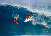 Sunny Garcia (HAW) surfing Off The Wall on Oahu's North Shore, Hawaii. circa 1992 Photo: joliphotos.com