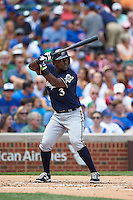 Milwaukee Brewers second baseman Elian Herrera (3) at bat during a game against the Chicago Cubs on August 13, 2015 at Wrigley Field in Chicago, Illinois.  Chicago defeated Milwaukee 9-2.  (Mike Janes/Four Seam Images)