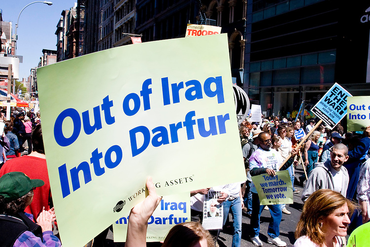 An estimated 100,000 to 300,000 people (depending on who is asked) took to the streets of New York City on April 29, 2006 to protest the continuing wars in Iraq and Afghanistan, domestic policies such as the Patriot Act, and the George W. Bush administration in general.<br /> <br /> The protest was coordinated by United for Peace and Justice, a coalition of over 1,000 international organizations that was founded in late 2002 to protest the imminent war in Iraq.