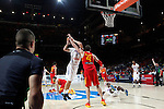 Spain´s Pau Gasol and France´s Lauvergne during FIBA Basketball World Cup Spain 2014 match between Spain and France at `Palacio de los deportes´ stadium in Madrid, Spain. September 10, 2014. (Victor Blanco)