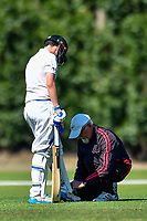 A Umpire during the National Primary School Cup Final between Medbury School v Huntley School at the Bert Sutcliffe Oval, Lincoln University, Christchurch, New Zealand. Wednesday 22 November 2017. Photo: John Davidson/www.bwmedia.co.nz