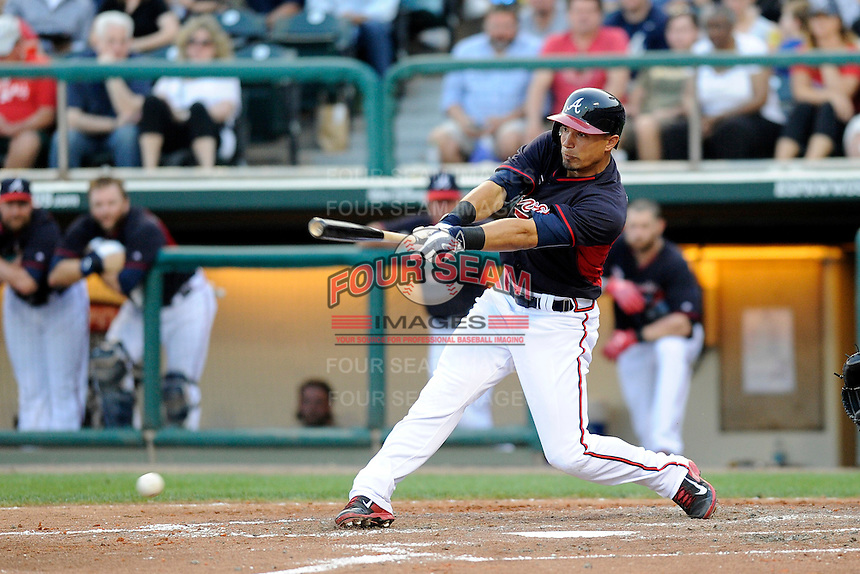 Second baseman Jace Peterson (28) of the Atlanta Braves bats in a Spring Training game against the New York Yankees on Wednesday, March 18, 2015, at Champion Stadium at the ESPN Wide World of Sports Complex in Lake Buena Vista, Florida. The Yankees won, 12-5. (Tom Priddy/Four Seam Images)
