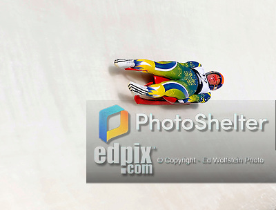 6 February 2009: Hannah Campbell-Pegg from Australia slides through a curve in the Women's Competition finishing in 20th place at the 41st FIL Luge World Championships, in Lake Placid, New York, USA. .  .Mandatory Photo Credit: Ed Wolfstein Photo