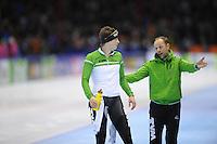SCHAATSEN: HEERENVEEN: IJsstadion Thialf, 29-12-2012, Seizoen 2012-2013, KPN NK allround, 1500m Heren, Sven Kramer, Gerard Kemkers (trainer/coach TVM), ©foto Martin de Jong