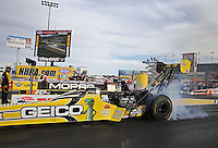 Apr. 5, 2013; Las Vegas, NV, USA: NHRA top fuel dragster driver Morgan Lucas during qualifying for the Summitracing.com Nationals at the Strip at Las Vegas Motor Speedway. Mandatory Credit: Mark J. Rebilas-