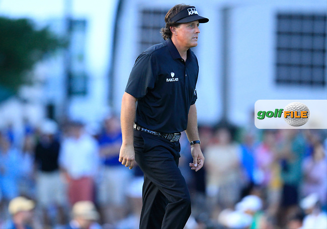 Phil Mickelson (USA) walks to the 18th green during Sunday's Final Round of the 113th U.S.Open National Championship held at Merion Golf Club, Ardmore, Philadelphia, Pennsylvania. <br /> 16th June 2013<br /> (Picture: Eoin Clarke www.golffile.ie)