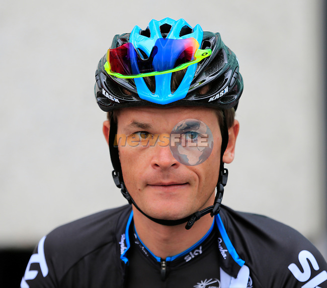 Newly crowned World Time Trial Champion Vasil Kiryienka (BLR) Team Sky at sign on for the start of the 2015 96th Milan-Turin 186km race starting at San Giuliano Milanese, Italy. 1st October 2015.<br /> Picture: Eoin Clarke | Newsfile