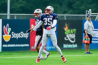 August 3, 2017: New England Patriots defensive back Damarius Travis (35) warms up at the New England Patriots training camp held at Gillette Stadium, in Foxborough, Massachusetts. Eric Canha/CSM