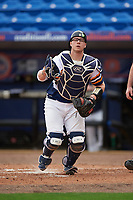 Canisius College Golden Griffins catcher Christ Conley (13) during the first game of a doubleheader against the Michigan Wolverines on February 20, 2016 at Tradition Field in St. Lucie, Florida.  Michigan defeated Canisius 6-2.  (Mike Janes/Four Seam Images)