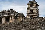The Palace tower in the ruins of the Mayan city of Palenque,  Palenque National Park, Chiapas, Mexico.  A UNESCO World Heritage Site.