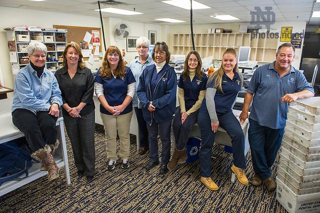 Nov. 19, 2014; Mail Distribution Center group photo. (Photo by Barbara Johnston/University of Notre Dame)