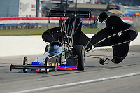 Sept. 3, 2011; Claremont, IN, USA: NHRA top fuel dragster driver Pat Dakin during qualifying for the US Nationals at Lucas Oil Raceway. Mandatory Credit: Mark J. Rebilas-
