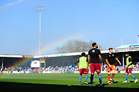 A rainbow appears in the spray of the water used on the pitch at half time as the Bolton Wanderers substitutes warm-up<br /> <br /> Photographer Chris Vaughan/CameraSport<br /> <br /> The EFL Sky Bet League One - Scunthorpe United v Bolton Wanderers - Saturday 8th April 2017 - Glanford Park - Scunthorpe<br /> <br /> World Copyright &copy; 2017 CameraSport. All rights reserved. 43 Linden Ave. Countesthorpe. Leicester. England. LE8 5PG - Tel: +44 (0) 116 277 4147 - admin@camerasport.com - www.camerasport.com
