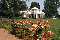 Monticello thomas jefferson flowers summer Display image Only: Monticello-the historical home of Thomas Jefferson located in Charlottesville, Va. Photo/Andrew Shurtleff