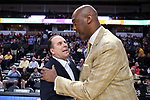 WINSTON-SALEM, NC - FEBRUARY 24: Notre Dame head coach Mike Brey (left) and Wake Forest head coach Danny Manning (right). The Wake Forest University Demon Deacons hosted the University of Notre Dame Fighting Irish on February 24, 2018 at Lawrence Joel Veterans Memorial Coliseum in Winston-Salem, NC in a Division I men's college basketball game. Notre Dame won the game 76-71.