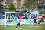 Lowestoft Town 2 Barrow 3, 25/04/2015. Crown Meadow, Conference North. Barrow make the six-hour trip to Suffolk needing a win to secure the title. Barrow support celebrate cruising to a 3-0 half time lead. Photo by Simon Gill.