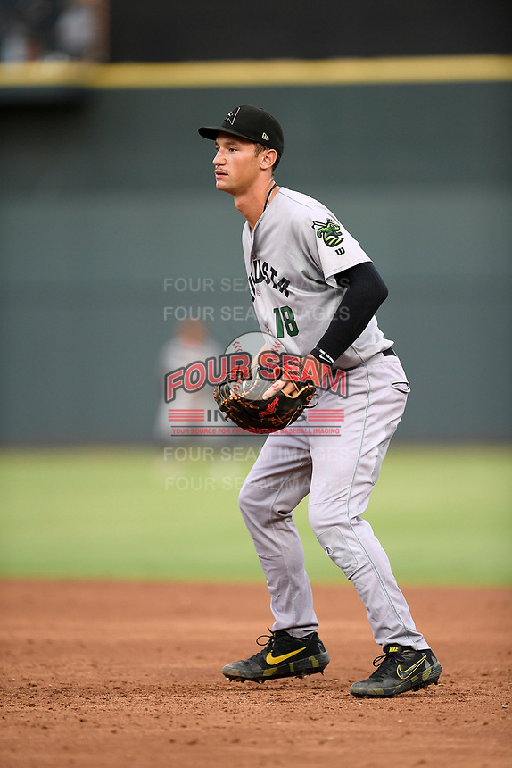 First baseman Jacob Gonzalez (18) of the Augusta GreenJackets plays defense in a game against the Columbia Fireflies on Thursday, July 11, 2019 at Segra Park in Columbia, South Carolina. Columbia won, 5-2. (Tom Priddy/Four Seam Images)