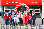 James O'Donoghue congratulates Jessica O'Connor and the O'Connor family at the opening of the new Vodafone  shop in College Street Killarney on Wednesday