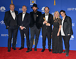 Stellan Skarsgård, Johan Renck, Jared Harris, Jane Featherstone, Carolyn Strauss, Craig Mazin 154 poses in the press room with awards at the 77th Annual Golden Globe Awards at The Beverly Hilton Hotel on January 05, 2020 in Beverly Hills, California.