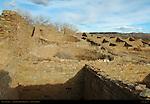 Kivas and Exposed Room Structures, West Ruin Anasazi Hisatsinom Chacoan Complex, Aztec Ruins National Monument, Aztec, New Mexico