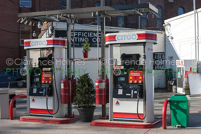 Self serve gasoline pumps at a Citgo gasoline station in White Plains, New York