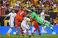 East Rutherford, NJ - Friday June 17, 2016: David Ospina, Andy Polo after a Copa America Centenario quarterfinal match between Peru (PER) vs Colombia (COL) at MetLife Stadium.