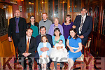 New baby<br /> -------------<br /> Pat&amp;Rebecca Leahy,Abbeyfeale (seated front) Christened their 2nd baby Zara in St Carthages Church,Brosna last Saturday afternoon by Fr Anthony O'Sullivan and after to a family celebration in the RiverIsland hotel,Castleisland,also seated is Simon Costelloe (far Lt) and Patricia Horgan (far Rt) Back L-R Dan Leahy,Noranne Kelly,Dan McDermott,Kathleen Leahy,Naomi Costelloe and David Mills.