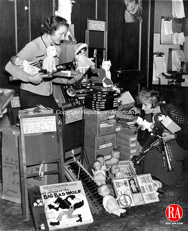 Toy Drive for the annual Christmas party sponsored by the State Theatre in Waterbury, December 1935.