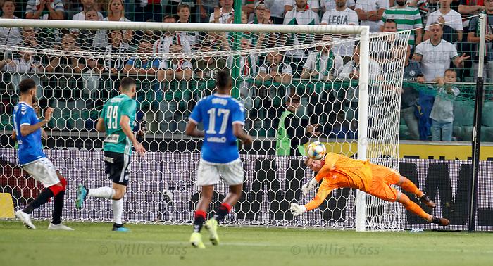 22.08.2019 Legia Warsaw v Rangers: Allan McGregor saves