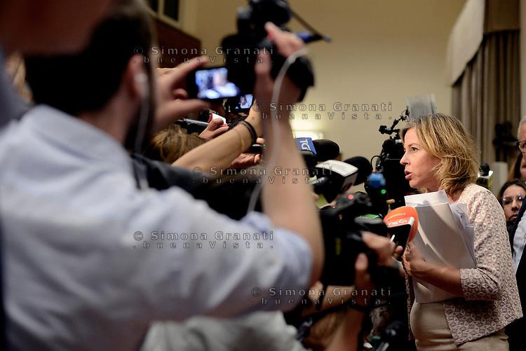 Roma, 5 Luglio 2018<br /> La Ministra della Salute Giulia Grillo durante la Conferenza stampa sulle vaccinazioni obbligatorie presso il Ministero della Salute, durante la quale annuncia di essere incinta e che vacciner&agrave; il bambino
