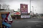The deserted street outside the stadium before Burnley hosted Everton in an English Premier League fixture at Turf Moor. Founded in 1882, Burnley played their first match at the ground on 17 February 1883 and it has been their home ever since. The visitors won the match 5-1, watched by a crowd of 21,484.