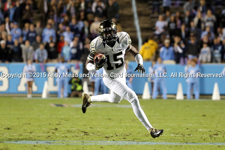 17 October 2015: Wake Forest's Cortez Lewis. The University of North Carolina Tar Heels hosted the Wake Foresst University Demon Deacons at Kenan Memorial Stadium in Chapel Hill, North Carolina in a 2015 NCAA Division I College Football game. UNC won the game 50-14.