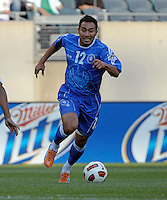 El Salvador's Arturo Alvarez dribbles the ball.  El Salvador defeated Cuba 6-1 at the 2011 CONCACAF Gold Cup at Soldier Field in Chicago, IL on June 12, 2011.