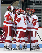 Ahti Oksanen (BU - 3), Danny O'Regan (BU - 10), Evan Rodrigues (BU - 17), Ryan Santana (BU - 15), Matt Nieto (BU - 19) - The Boston University Terriers defeated the visiting Northeastern University Huskies 5-0 on senior night Saturday, March 9, 2013, at Agganis Arena in Boston, Massachusetts.