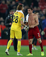 5th November 2019; Anfield, Liverpool, Merseyside, England; UEFA Champions League Football, Liverpool versus Genk; KRC Genk Goalkeeper Gaetan Coucke shakes hands with James Milner of Liverpool after the final whistle - Editorial Use