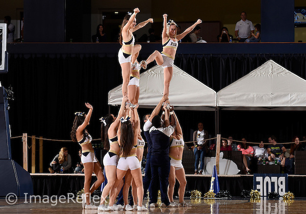Florida International University cheerleaders perform during the game against Western Kentucky University which won the game 65-58 on January 17, 2015 at Miami, Florida.