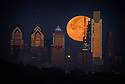 November 13 and 14 / Super Moon over Strawbridge Lake and Philadelpihia PA skyline