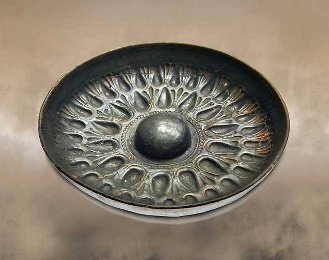 250 - 150 B.C Etruscan phiale or patera, or wine drinking bowl, produced in Calena, inv 4566,  National Archaeological Museum Florence, Italy