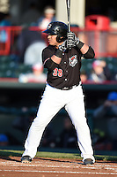 Erie SeaWolves catcher Ramon Cabrera (38) at bat during a game against the Akron RubberDucks on May 17, 2014 at Jerry Uht Park in Erie, Pennsylvania.  Erie defeated Akron 2-1.  (Mike Janes/Four Seam Images)