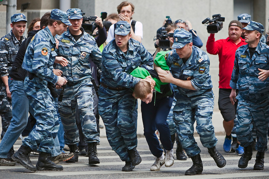 Moscow, Russia, 27/05/2012..Police arrest a Russian nationalist during clashes as nationalists attacked gay rights activists during their seventh attempt to hold a gay pride parade in the Russian capital.