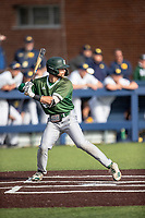 Eastern Michigan Eagles second baseman Jared Kauffman (15) at bat during the NCAA baseball game against the Michigan Wolverines on May 8, 2019 at Ray Fisher Stadium in Ann Arbor, Michigan. Michigan defeated Eastern Michigan 10-1. (Andrew Woolley/Four Seam Images)