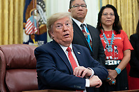 United States President Donald J. Trump signs an Executive Order Establishing the Task Force on Missing and Murdered American Indians and Alaska Natives in the Oval Office of White House in Washington, DC on Tuesday, November 26, 2019.<br /> Credit: Chris Kleponis / Pool via CNP/AdMedia