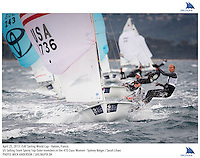 Hyeres, France, 20130425: ISAF SAILING WORLD CUP - approx 900 sailors compete in all the Olympic boat classes at the last event on the 2012/2013 World Cup. 470 W - USA - Sydney Bolger / Sarah Lihan. Photo: Mick Anderson/SAILINGPIX..Note: High-res TIFFs availble upon request.
