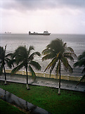PANAMA, Colon, a container ship waits to pass through the Panama Canal, Central America