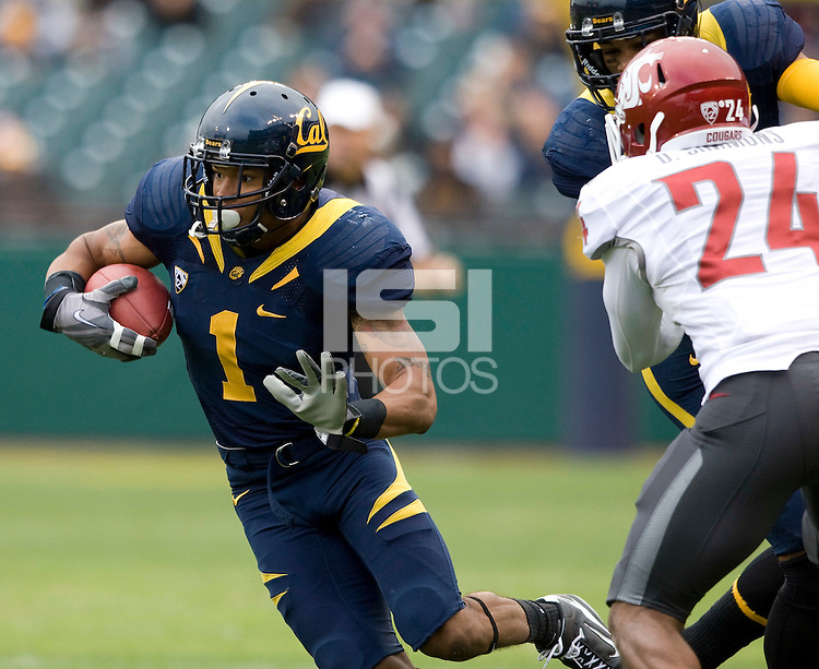 Marvin Jones of California in action during the game against Washington State at AT&T Park in San Francisco, California on November 5th, 2011.  California defeated Washington State, 30-7.