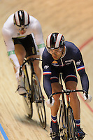 SHANE PERKINS (AUS) and MICKAEL BOURGAIN (FRA) race in the quarterfinals of the Men's Sprint event on day 3 of the 2012 UCI Track Cycling World Championships at Hisense Arena in Melbourne, Australia. Photo Sydney Low. Copyright 2012 Sydney Low. All rights reserved. No reproduction permitted. Access via FlickrAPI not permitted...Please contact ZUMApress.com for editorial licensing:.Phone +1.949.481.3747  -  fax +1.949.481.3941  -  zuma-info@ZUMAPress.com .408 N. El Camino Real, San Clemente, California, 92672 USA