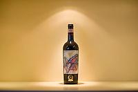 The bottle of Brunello di Montalcino winner of the award of best red wine in the world..La bottiglia di Brunello di Montalcino vincitrice del premio come miglior vino rossa del 2010.