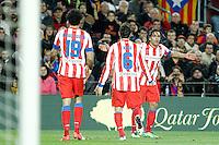 ATENCAO EDITOR IMAGEM EMBARGADA PARA VEICULOS INTERNACIONAIS - BARCELONA, ESPANHA, 16 DEZEMBRO 2012 - Rodamel Falcao (D) comemora seu gol contra o Barcelona em partida pela 16 Rodada do Campeonato Espanhol no Camp Nou em Barcelona capital da Catalunha na Espanha. (FOTO: ALFAQUI / BRAZIL PHOTO PRESS)..