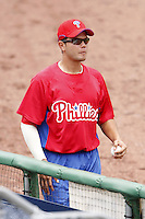 July 10, 2009:  Catcher Jorge Guerra (85) of the GCL Phillies during a game at Bright House Networks Field in Clearwater, FL.  The GCL Phillies are the Gulf Coast Rookie League affiliate of the Philadelphia Phillies.  Photo By Mike Janes/Four Seam Images